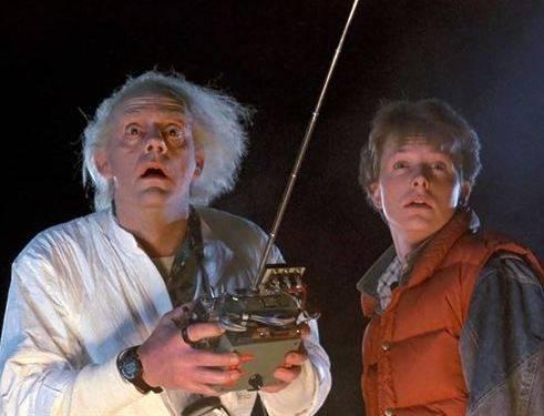 Christopher Lloyd e Michael J. Fox nel film «Ritorno al futuro»