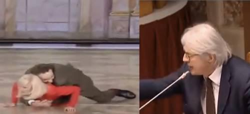 """Sgarbi le canta a Benigni: """"Ha trattato la Carrà come un oggetto. Abbattete la sua statua"""""""