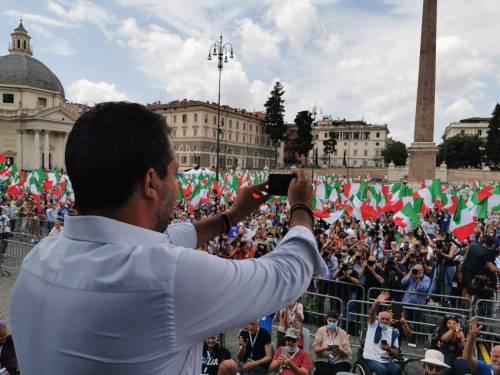 Manifestazione del centrodestra contro Conte 3