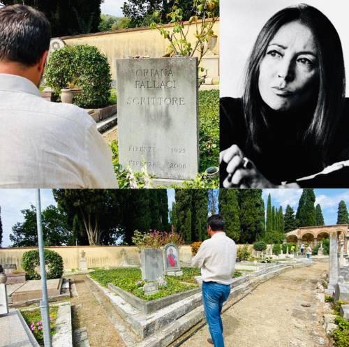 Salvini sulla tomba di Oriana Fallaci