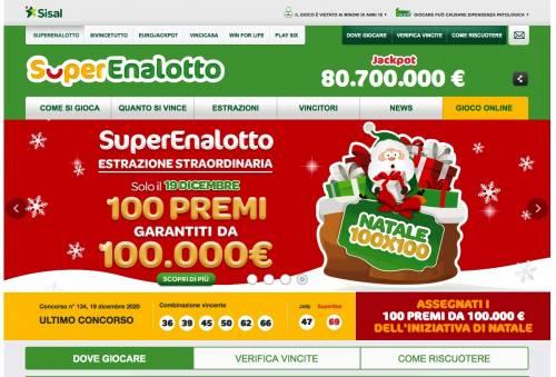 """SuperEnalotto """"Natale 100x100"""", ecco le Regioni più fortunate"""