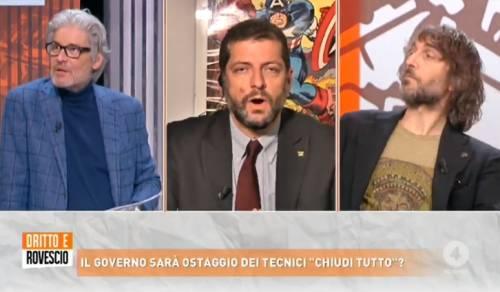 """""""Draghi è stato santificato"""", """"Faccia l'antidoping"""". Cruciani stuzzica Romano ed è rissa in tv"""