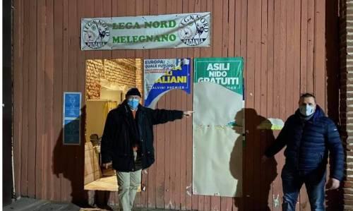 Melegnano, atti vandalici contro sede della Lega