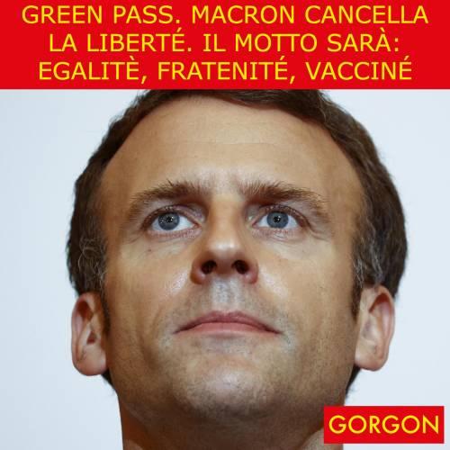Ecco la satira del giorno. Macron cancella la liberté