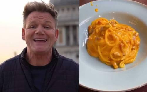 """Chef Gordon Ramsay fa infuriare i social. """"La mia carbonara"""", ma la ricetta è sbagliata"""