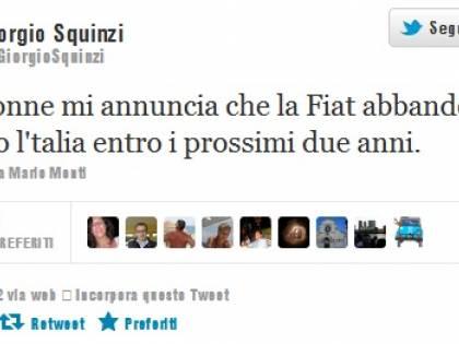 """Squinzi su Twitter rivela: """"Fiat lascerà presto l'Italia"""" Ma è il solito falso profilo"""