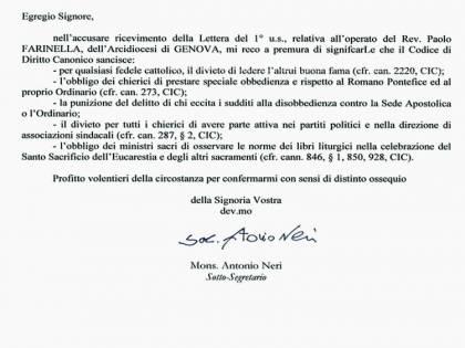 Don Farinella «scomunicato» dalla Congregazione per il Clero