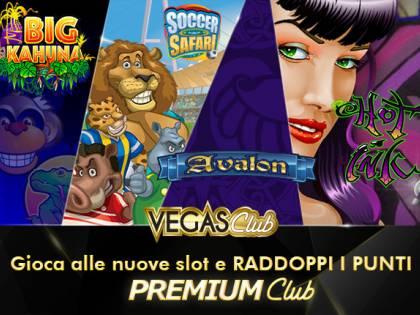 Con le nuove slot di Vegas Club  raddoppiano i punti