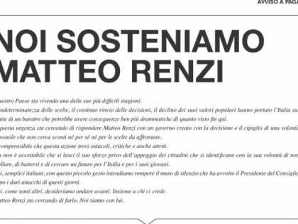 """Pagina a pagamento sul Corriere della Sera: """"Noi sosteniamo Renzi"""""""