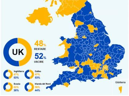 Cartina Regno Unito E Irlanda.Brexit La Mappa Del Voto Scozia Nord Irlanda E Londra Pro Remain Ilgiornale It