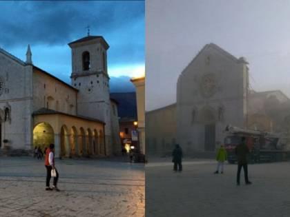 La basilica di Norcia, prima e dopo il terremoto