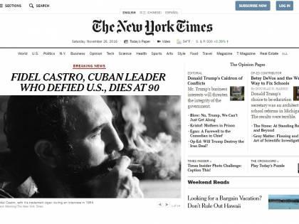 La morte di Castro sui siti di tutto il mondo