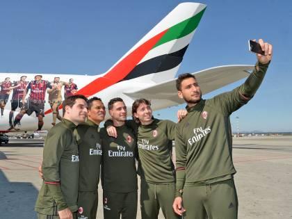 Emirates porta il Milan nel mondo: immagine dei campioni sull'A380