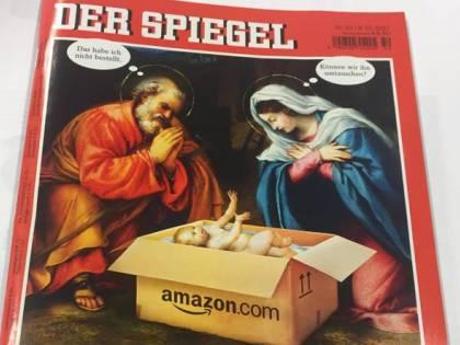 Il presepe blasfemo dello Spiegel: Gesù Bambino lo porta Amazon