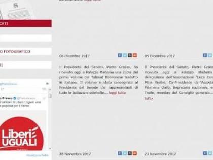 """Il logo di """"Liberi e Uguali"""" sul sito del Senato, ancora polemiche per Grasso"""