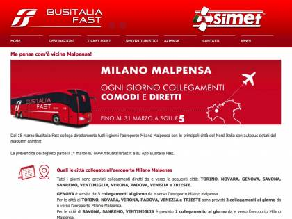 Busitalia Fast, con l'autobus a Milano Malpensa dalle città del Nord Italia