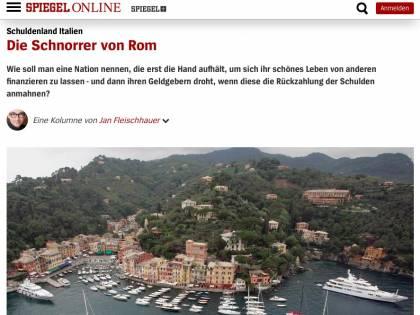 """""""Italiani scrocconi aggressivi"""": cittadino querela Der Spiegel"""