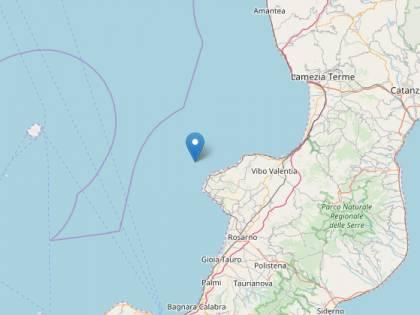 Una scossa di magnitudo 4.4. avvertita al largo della Calabria