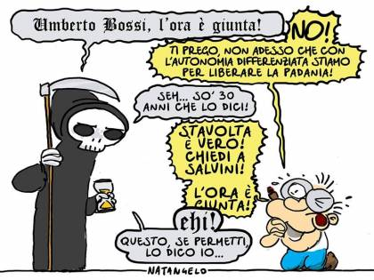 """Vignetta choc del Fatto, Morte va a prendere Bossi: """"È giunta l'ora"""""""