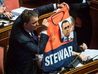 Senatore Forza Italia espone gilet steward con foto di Di Maio: bagarre in Aula