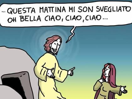 """Gesù ora diventa """"partigiano"""". E per il prete canta """"Bella Ciao"""""""
