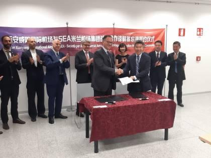 Sea sulla rotta per la Cina: accordo per sviluppare i voli tra Malpensa e aeroporto Xì An Xianyang