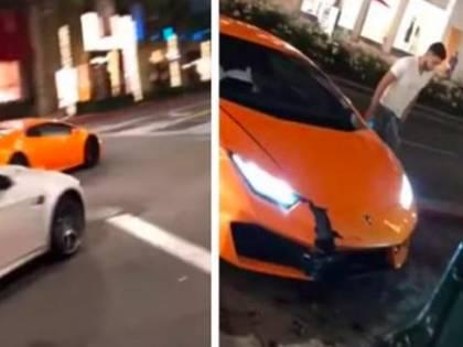 Noleggia una Lamborghini e la distrugge sul marciapiede