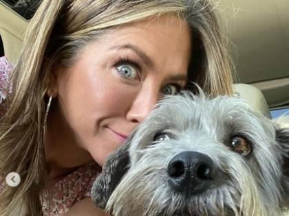 Jennifer Aniston, gambe mozzafiato a spasso con il cane