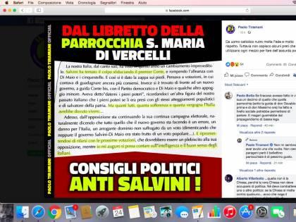 Il bollettino parrocchiale choc: Salvini paragonato a Mussolini