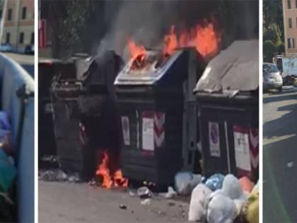 Roma di nuovo invasa dalla spazzatura: cassonetti in fiamme e immondizia in strada