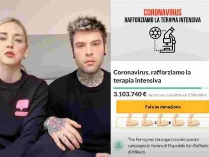 Fedez e Chiara Ferragni raccolgono più di 3 milioni in 24 ore per il San Raffaele