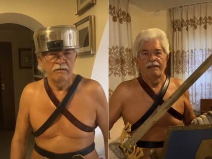 Pentola in testa e spada nei pantaloni: Razzi è il nuovo gladiatore