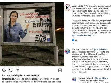 """""""Ecco la libertà delle donne"""" I manifesti anti aborto imbrattati dalle femministe"""