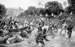 Le truppe di Lettow-Vorbeck in azione contro i portoghesi nel 1917 in una rappresentazione della stampa tedesca dell'epoca