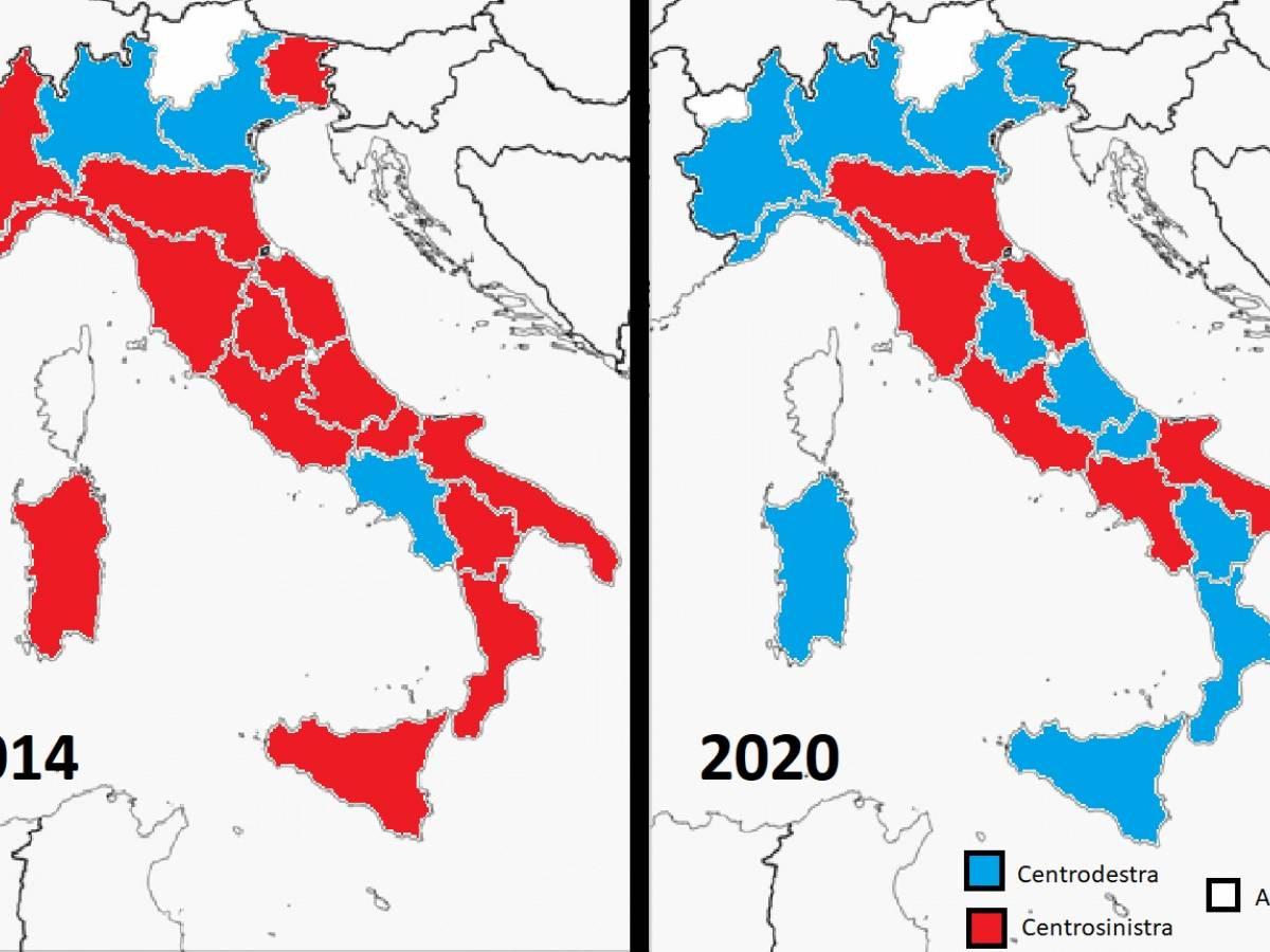 Cartina Con Province D Italia.La Mappa Delle Regioni Dopo Il Voto In Emilia Romagna E In Calabria Ilgiornale It