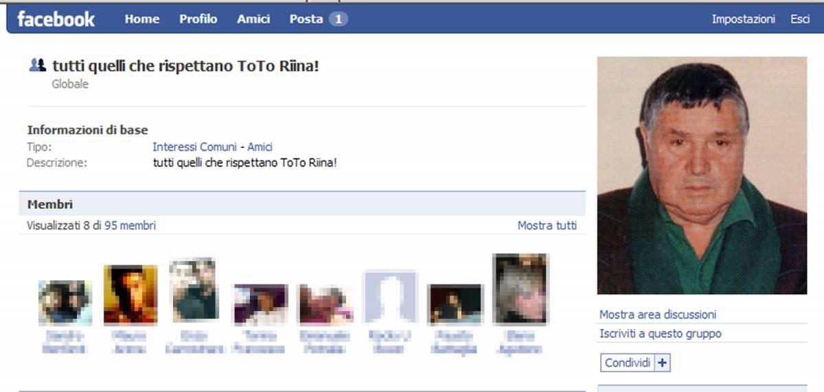 """Facebook, cattivi maestri:   Riina, Erba e Pacciani   Polizia: """"Non c'è reato"""""""