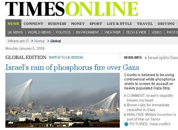 """L'accusa del Times: """"Israele usa il fosforo bianco"""""""