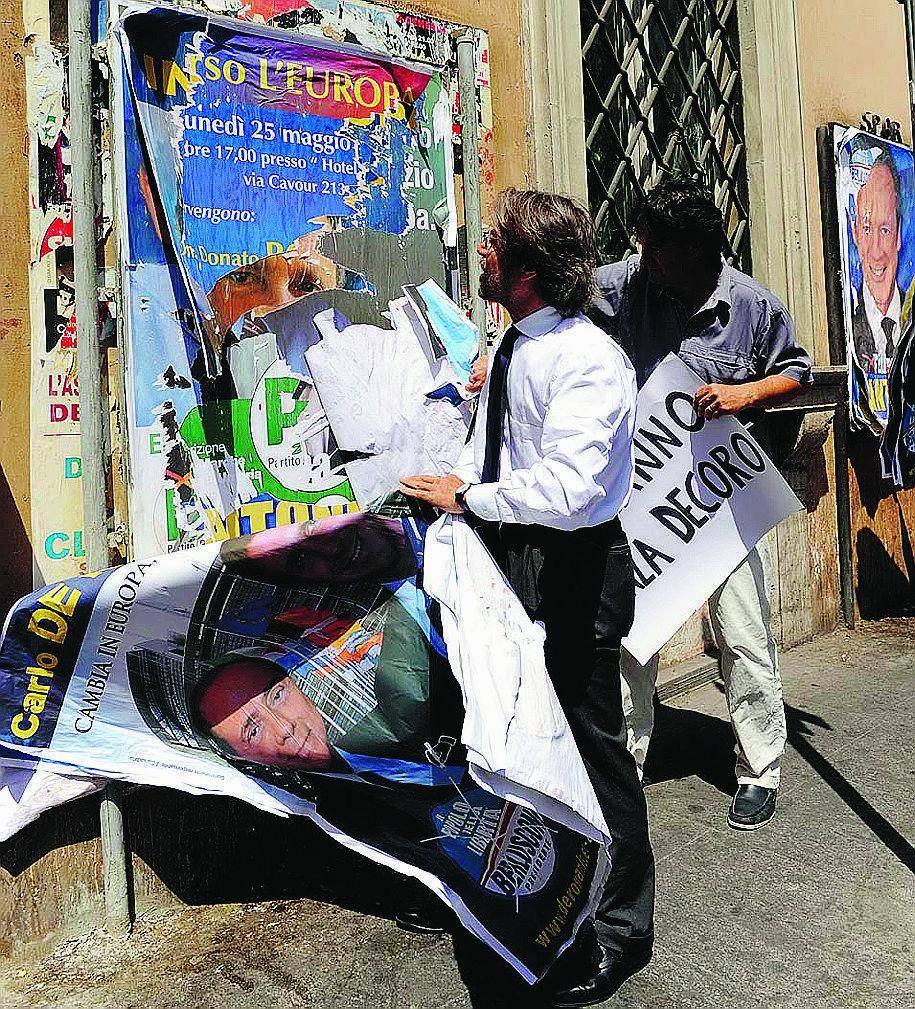Europee Affissioni abusive: l'esempio del Pd