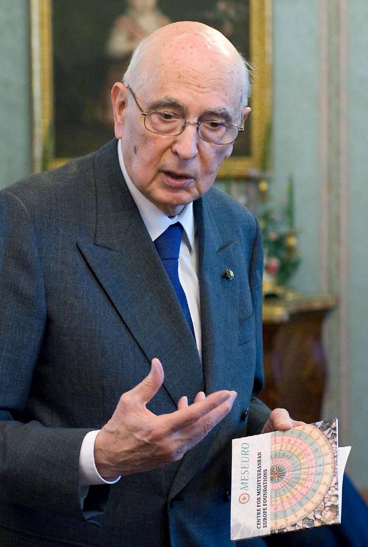 "Crisi, Napolitano: ""Servono sforzo e sacrifici"""