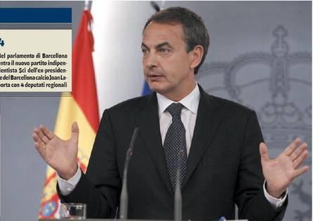 La Catalogna mette Zapatero sempre più nei guai