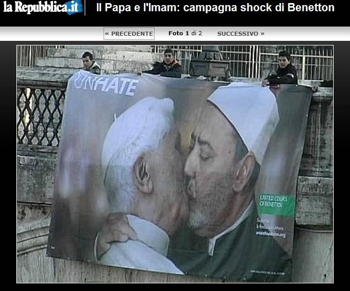Incontri clandestini di Silvio e il bacio tra il Papa e l'imam: spot che non scioccano più