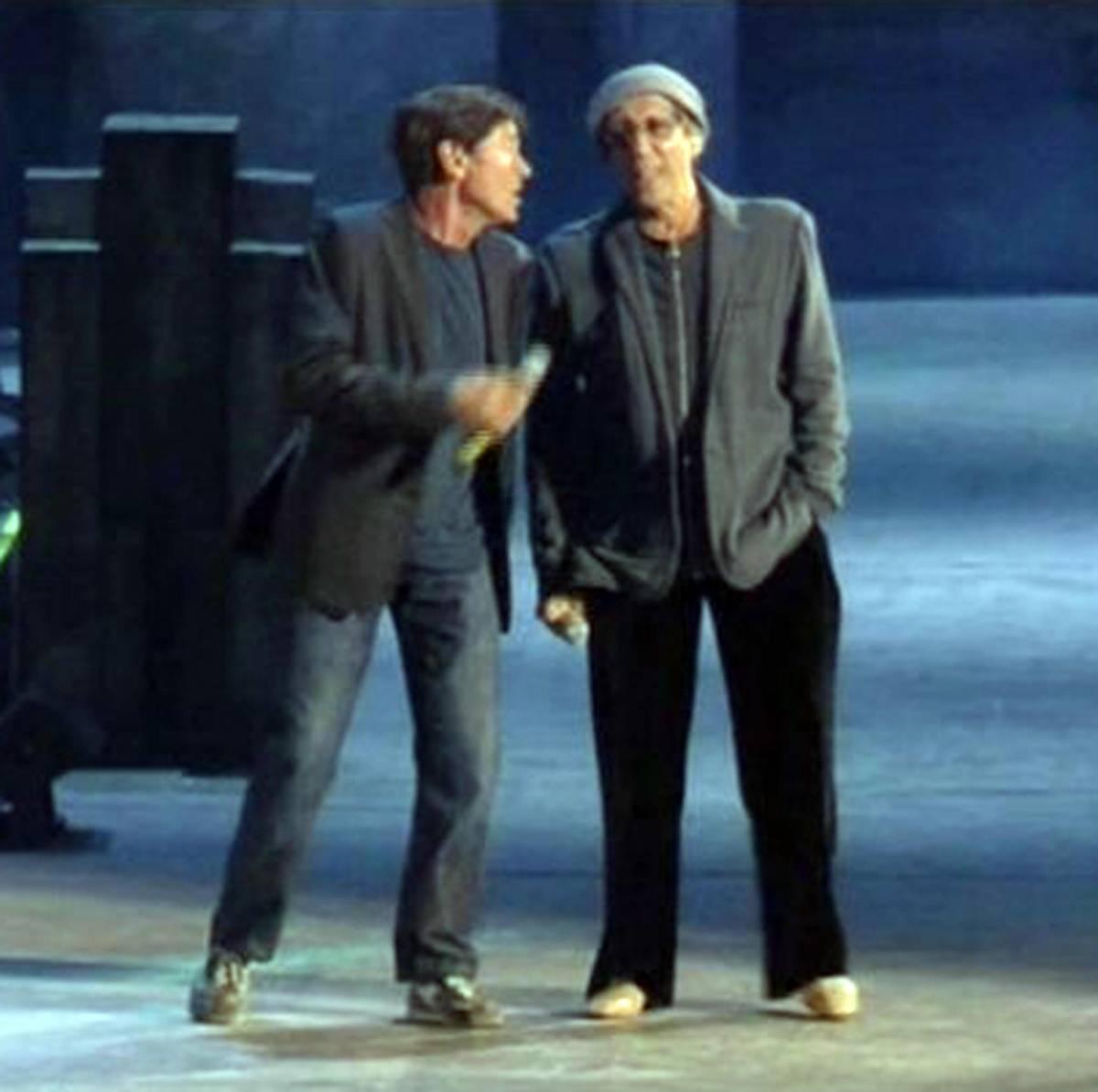 """Adriano Celentano con Gianni Morandi a """"Rock Economy"""""""