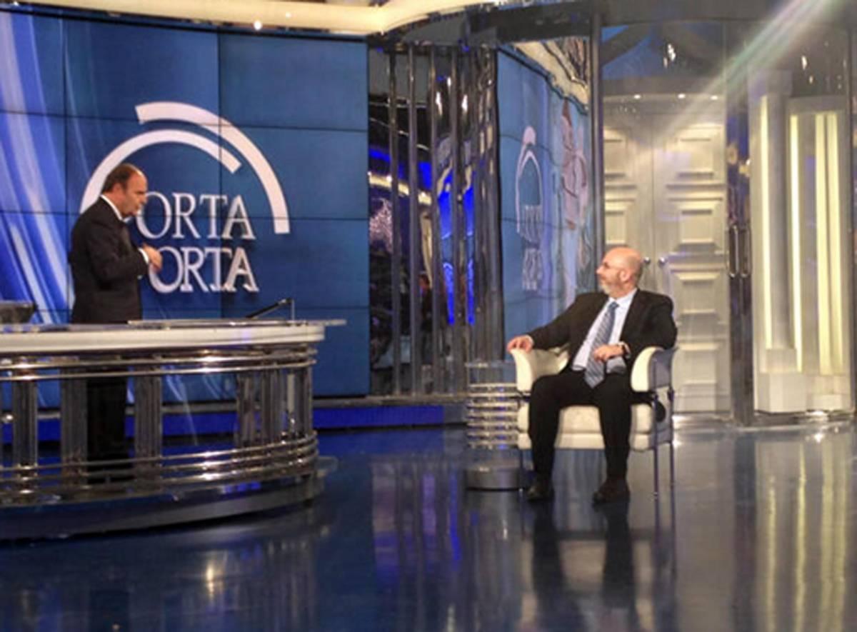 Il capogruppo al Senato di M5S, Vito Crimi, ospite di Bruno Vespa