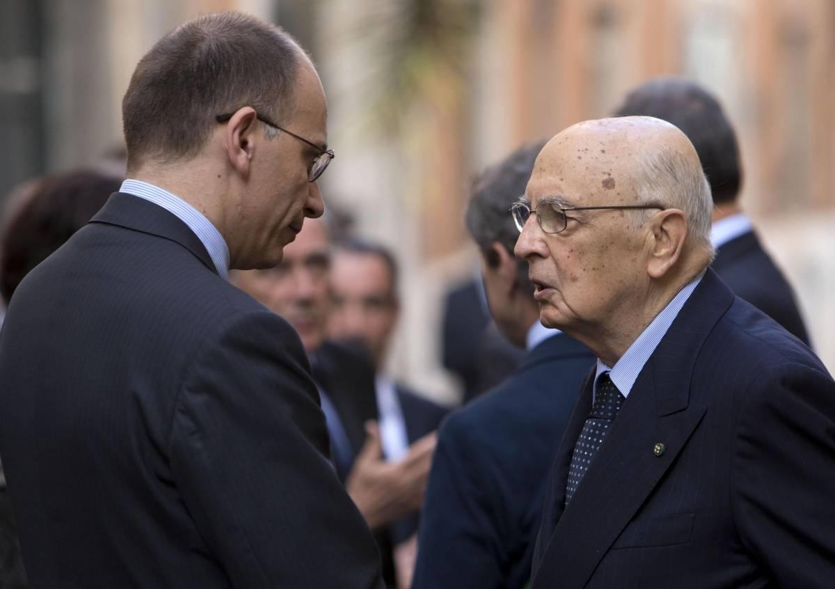 Il presidente della Repubblica Giorgio Napolitano e il premier Enrico Letta