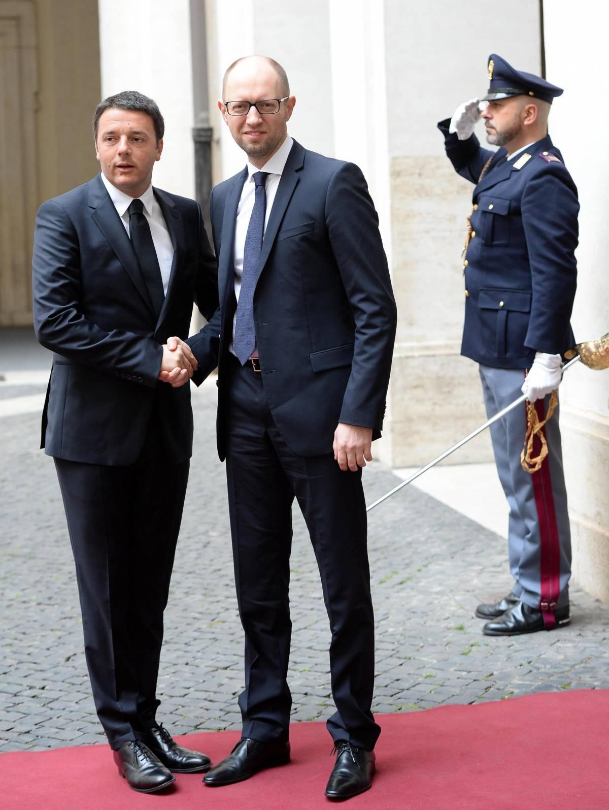 Matteo Renzi a Roma con il premier ucraino Iatseniuk
