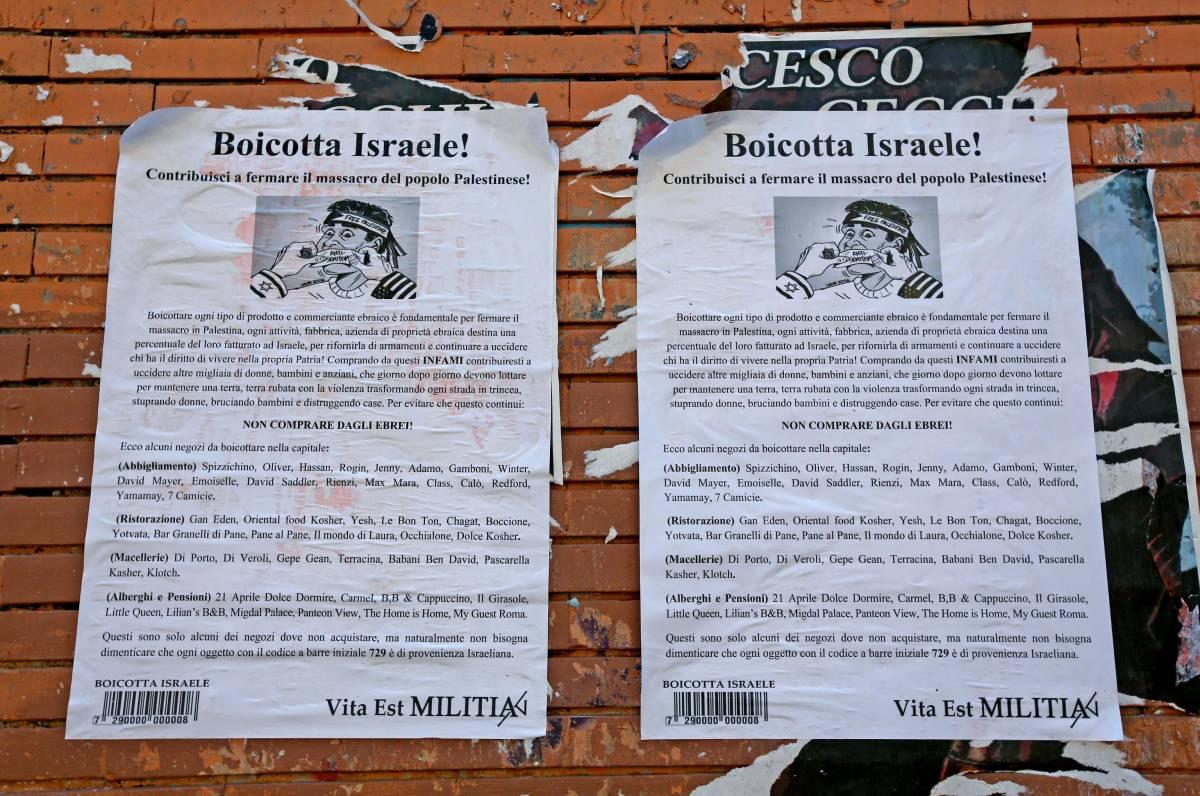 """Razzismo sui muri di Roma: """"Boicottate i negozi ebrei"""""""