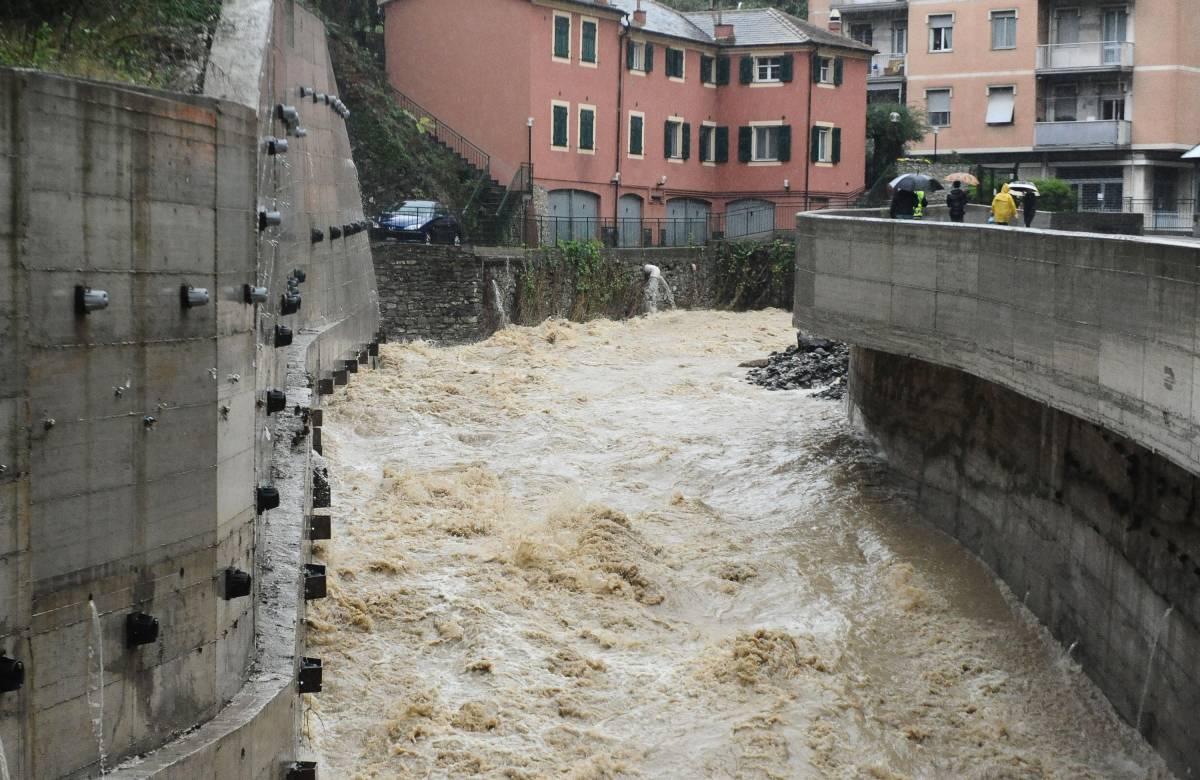 Il torrente Bisagno nella zona del Ferreggiano a Genova