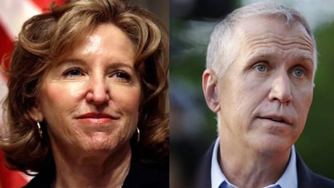 Kay Hagan e lo sfidante repubblicano Thom Tillis