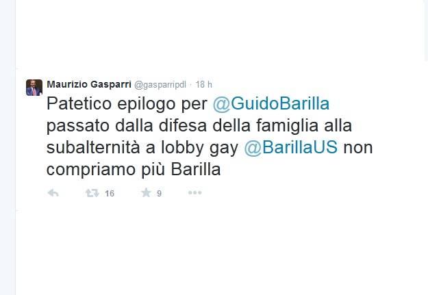 Il tweet di Gasparri contro Barilla