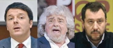 Renzi, Grillo e Salvini. Sotto il leader niente, men che meno la cultura